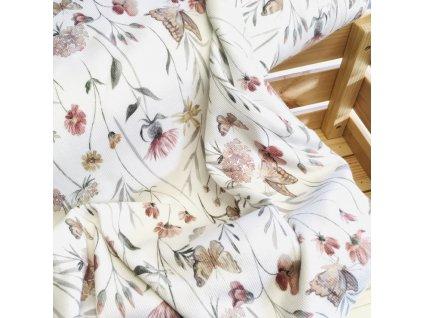"""žebrovaný úplet """"letní louka"""" od Family Fabrics"""