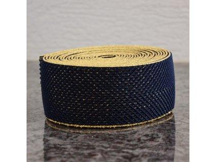 0,5 m guma do pasu stromečkový vzor modrá - zlatá 60 mm