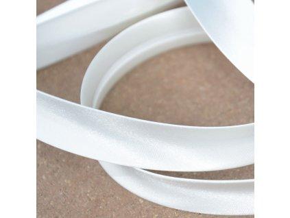 0,5 m saténový šikmý proužek zářivě bílý 18 mm