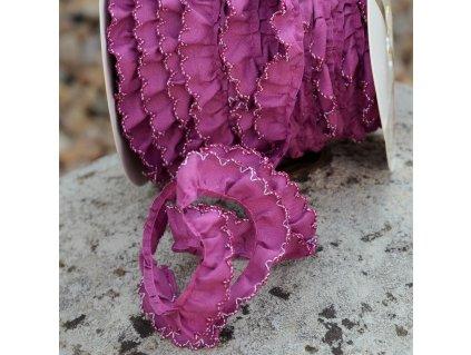0,5 m řasený dekorovací proužek fialový 15 mm