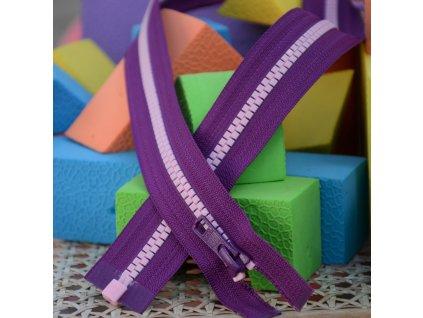 dělitelný kostěný zip YKK - 66 cm, fialová stuha, růžové zuby