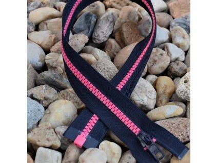 dělitelný kostěný zip YKK - 50 cm, tmavě šedá stuha, růžové zuby