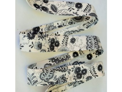 0,5 m šikmý proužek retro květiny šedé 18 mm (bavlna/polyester)