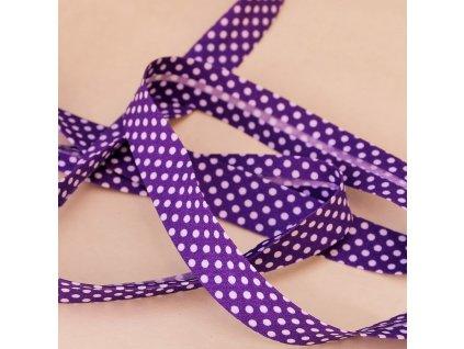 0,5 m šikmý proužek tmavě fialový s puntíky 18 mm (bavlna/polyester)