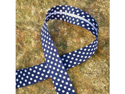 """0,5 m šikmý proužek """"námořnická modř"""" s puntíky 18 mm (bavlna/polyester)"""
