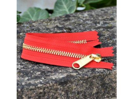 nedělitelný kovový zip YKK - 20 cm, červený
