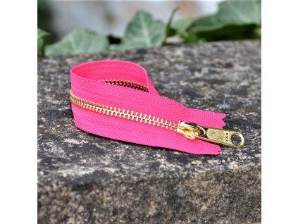nedělitelný kovový zip YKK - 20 cm, růžový
