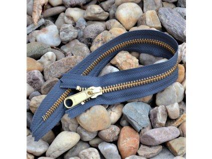 nedělitelný kovový zip YKK - 30 cm, tmavě šedý