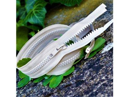 dělitelný kostěný zip YKK - 60 cm, béžový