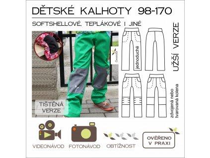 dětské (nejen) softshellové kalhoty 98 -170 UŽŠÍ verze - tištěný střih Caramilla