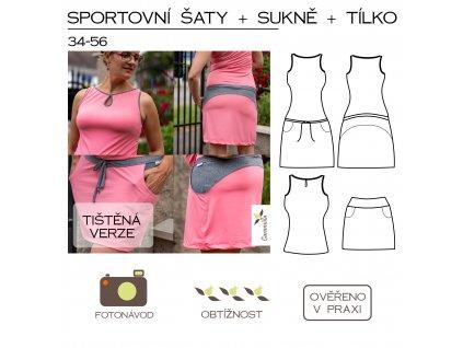 sportovní šaty + sukně + tílko - tištěný střih Caramilla