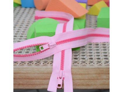 dělitelný kostěný zip YKK - 75 cm, kombinace růžové