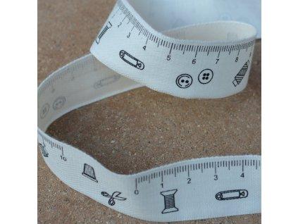 0,5 m stuha - šití + metr 23 mm