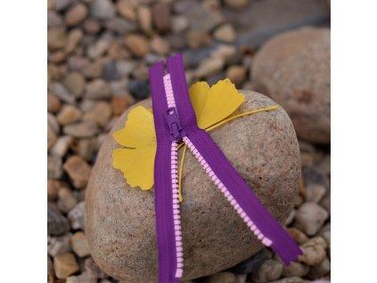 nedělitelný kostěný zip YKK - 16 cm, růžové zuby, fialová stuha
