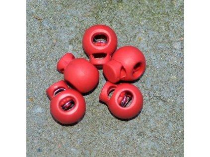 brzdička kulatá 1 dírka prům. 4 mm červená