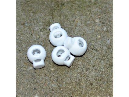 brzdička kulatá 1 dírka prům. 4 mm bílá