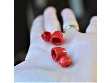 koncovka na tkanice 4 mm - červená