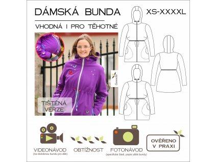 dámská bunda na stahování pod prsy - tištěný střih Caramilla