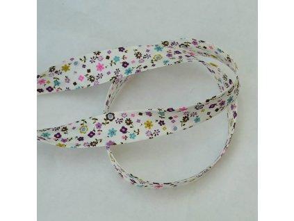 0,5 m šikmý proužek drobné květinky fialové 18 mm (bavlna)