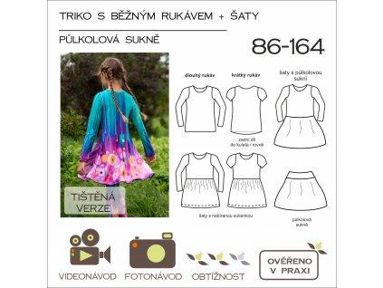 dětské triko s běžným rukávem (UŽŠÍ) + šaty půlkolová sukně - tištěný střih Caramilla