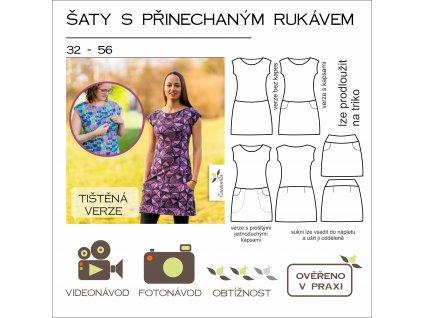 šaty s přinechaným rukávem - tištěný střih Caramilla