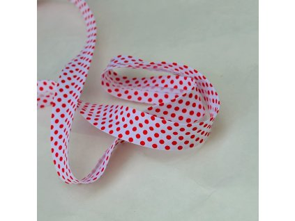 0,5 m šikmý proužek červené puntíky na bílé 18 mm (bavlna/polyester)