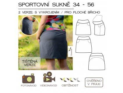 sportovní sukně (i pro těhotné) vel. 34 - 56 - tištěný střih Caramilla