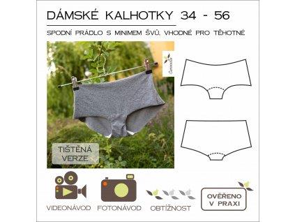 dámské kalhotky s minimem švů - tištěný střih Caramilla