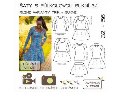 šaty s půlkolovou sukní 3 v 1 SET - tištěný střih Caramilla