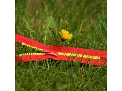 nedělitelný kostěný zip YKK - 16 cm, žluté zuby, červená stuha