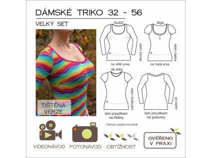 dámské triko VELKÝ SET - tištěný střih Caramilla
