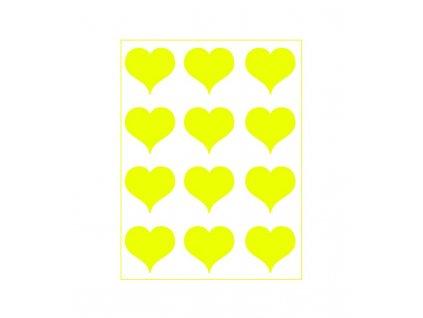 Neonový nažehlovací potisk - Srdíčka I, žlutá