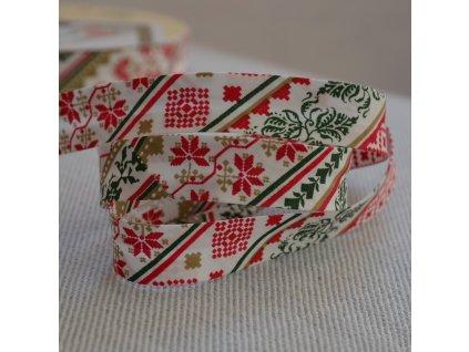 0,5 m šikmý proužek vánoční severský styl 18 mm (bavlna)