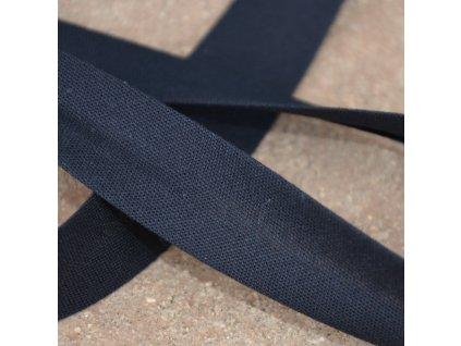 0,5 m šikmý proužek zažehlený černý 18 mm (bavlna/polyester)