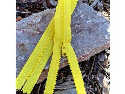 nedělitelný kostěný zip YKK - 40 cm, citrónová žlutá