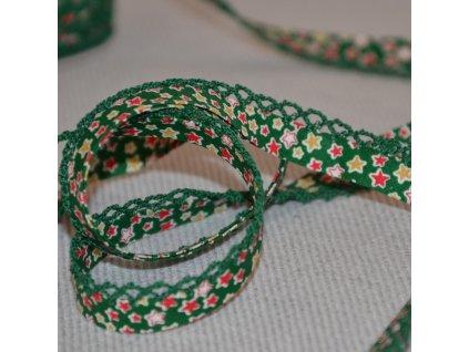 0,5 m bavlněná paspule hvězdičky na zelené 12 mm