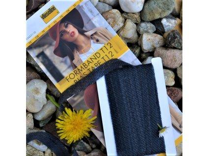vlizelínový pásek s nitkou (osnovou) černý 12 mm - balení 5 m