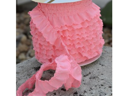 0,5 m řasený dekorovací proužek růžový 20 mm