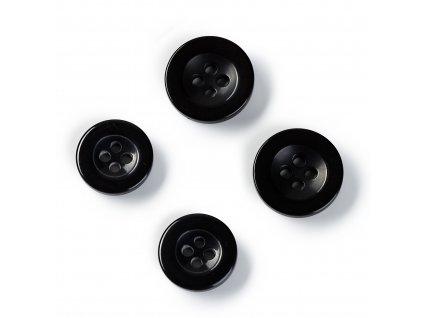 Prym kalhotové knoflíky kulaté 15mm a 17mm, černé