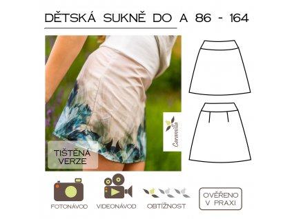 dětská sukně do A  86 -164 - tištěný střih Caramilla