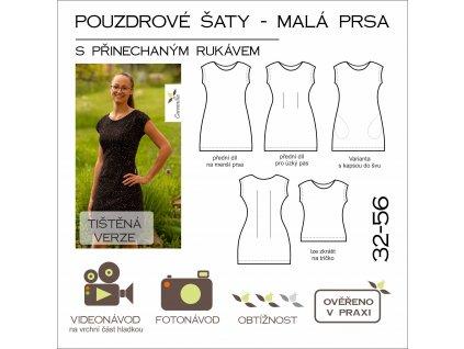 pouzdrové šaty s přinechaným rukávem - MALÁ PRSA - 32 - 56 - tištěný střih Caramilla