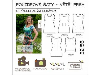 pouzdrové šaty s přinechaným rukávem - VĚTŠÍ PRSA - 32 - 56 - tištěný střih Caramilla