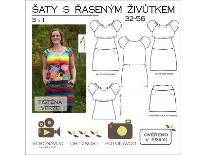 šaty s řaseným živůtkem 3 v 1 32 - 56 - tištěný střih Caramilla