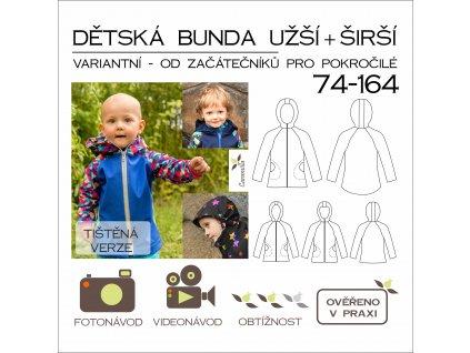 dětská bunda variantní SET (širší + užší verze) - tištěný střih Caramilla