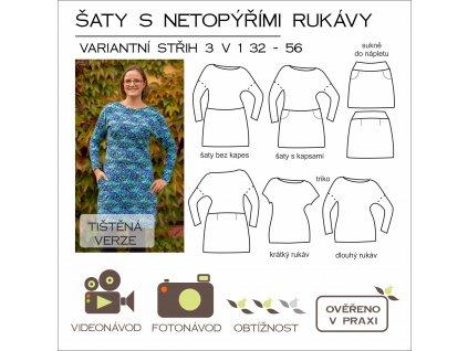 šaty s netopýřími rukávy 3 v 1 32 - 56 - tištěný střih Caramilla