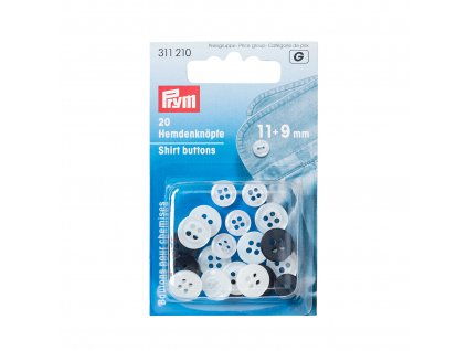 Prym košilové knoflíky kulaté 11mm a 9mm, bílé, černé, 20 ks