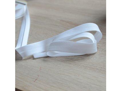 0,5 m šikmý proužek bílý plátno s elastanem 18mm
