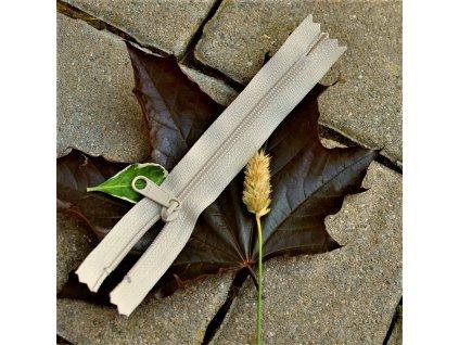 nedělitelný spirálový zip YKK bez aretace vel. 3 - 14 cm, béžový