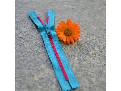 nedělitelný kostěný zip YKK - 16 cm, růžové zuby, tyrkysová stuha