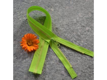 dělitelný kostěný zip YKK - 45 cm, neonově zelená stuha, světle žluté zuby